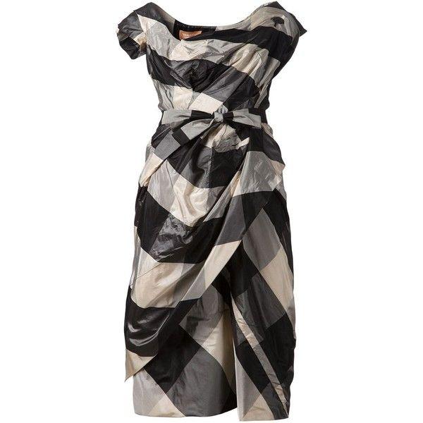 Vivienne Westwood 'Dora' dress (€1.875) ❤ liked on Polyvore featuring dresses, black, vivienne westwood dresses, cinched waist dress, checked dress, draped silk dress and silk dress