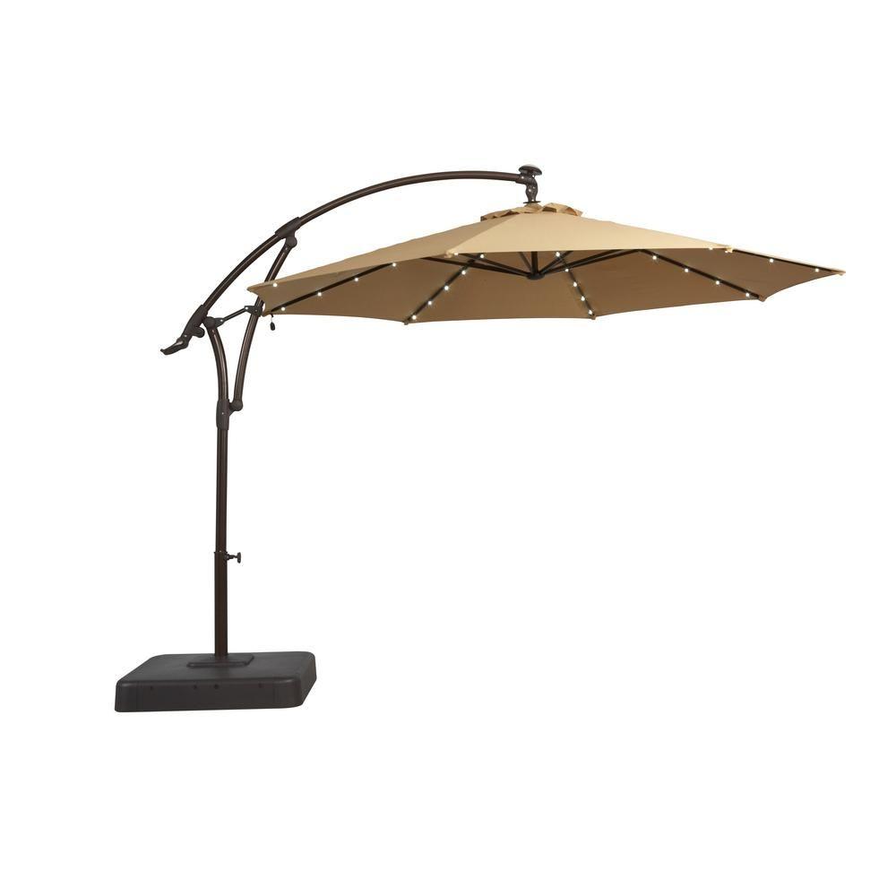 Hampton Bay 11 ft. Solar Offset Patio Umbrella in Cafe | Offset ...
