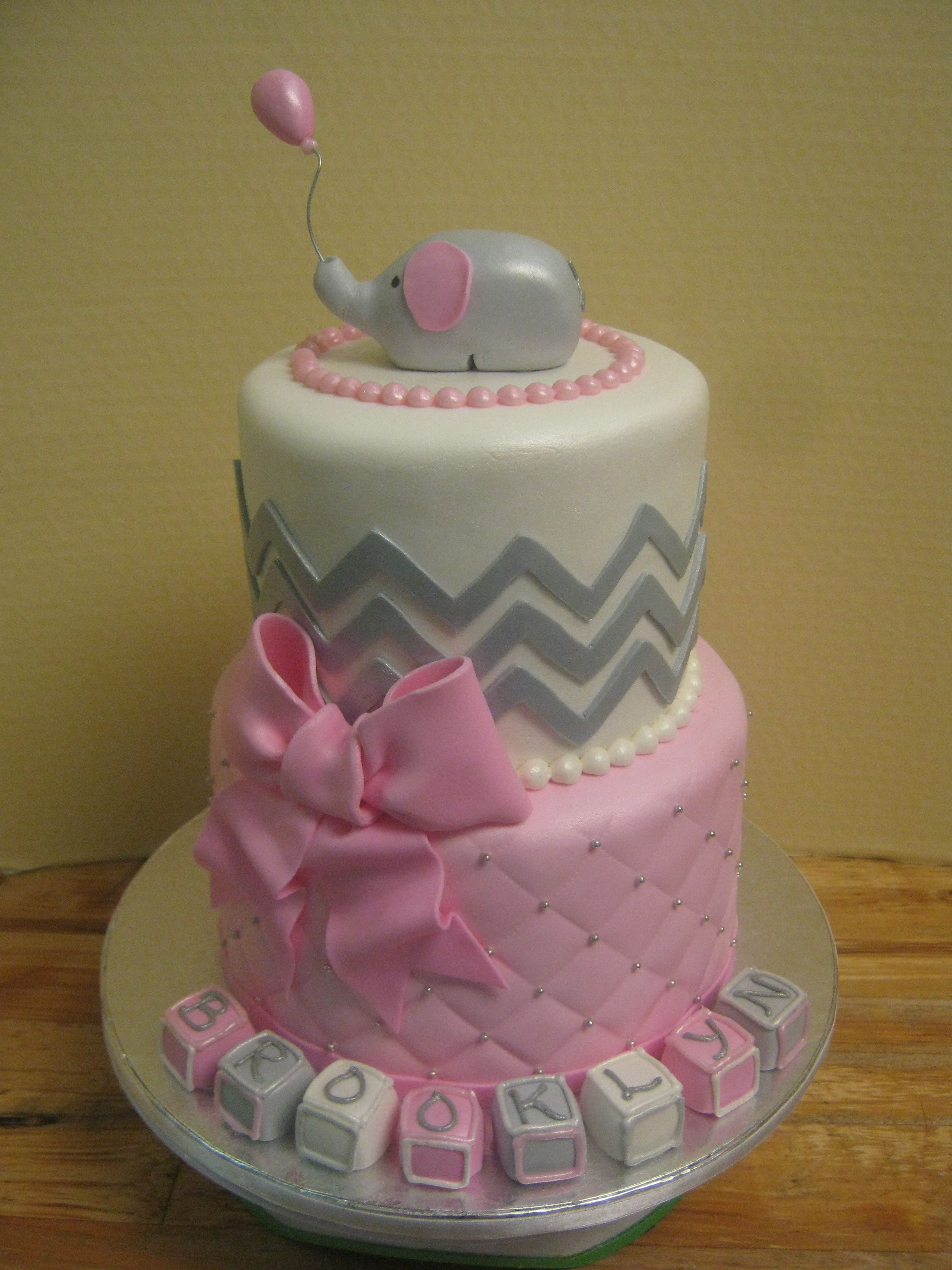 Chevron little elephant tiered baby shower cake in pink and gray