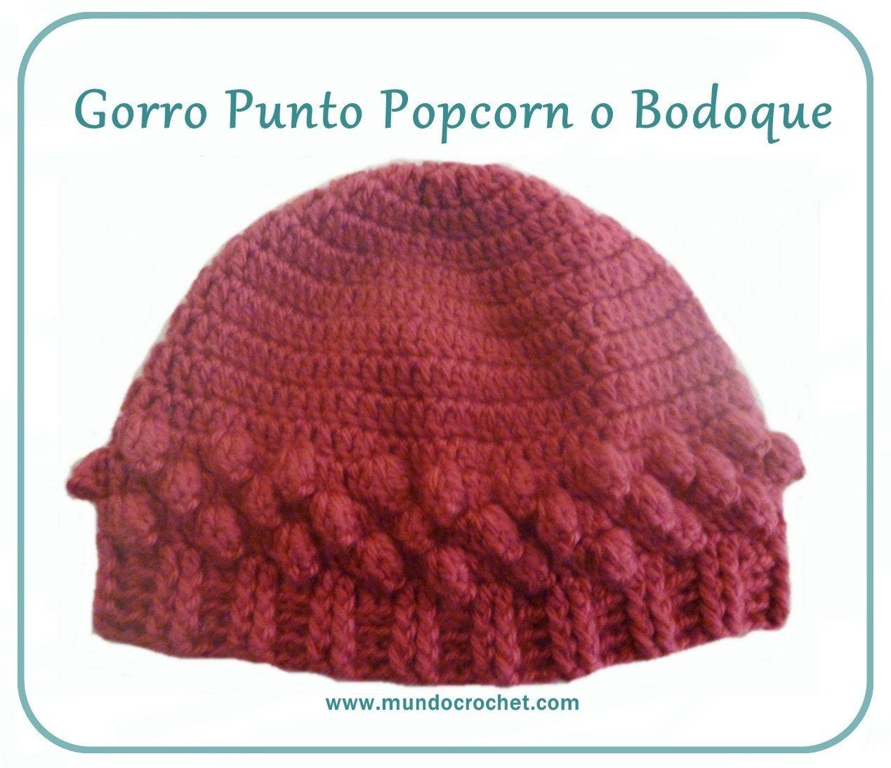 Gorro Punto Popcorn o Bodoque-crop. instrucciones, foto y patrón ...
