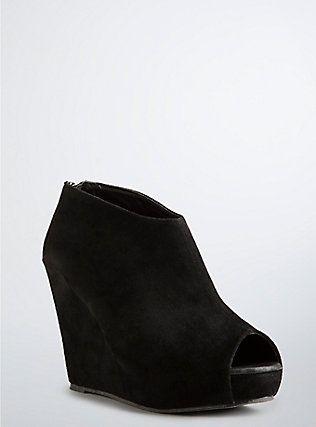 aa9e30bcf7be Plus Size Faux Suede Peep Toe Booties (Wide Width)