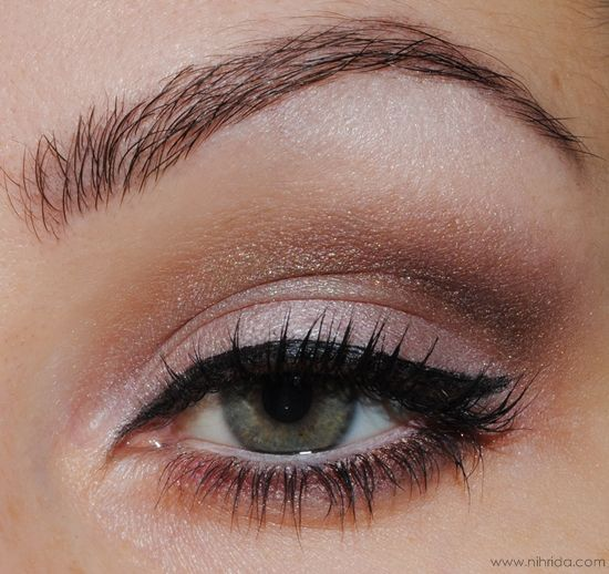Heavily lined eye with subtle shine