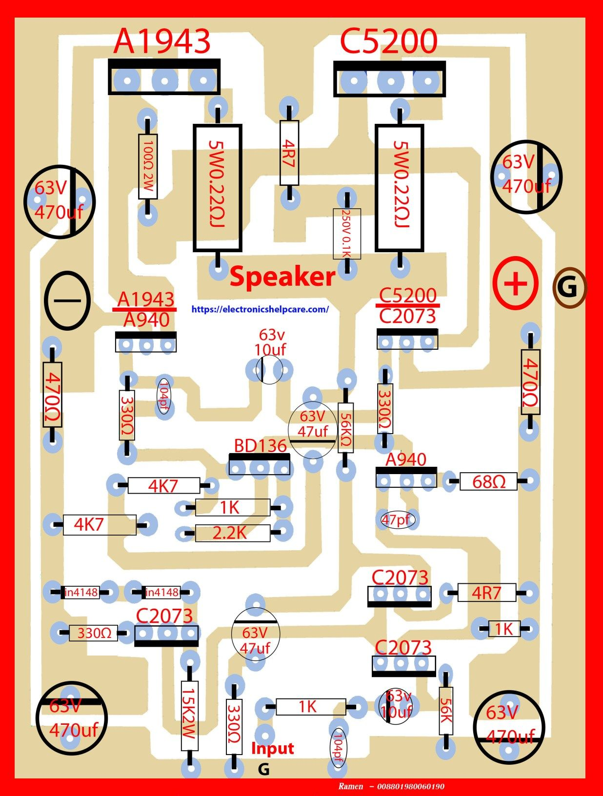 2sc5200 2sa1943 amplifier circuit diagram pcb here in this circuit we also can more transistor [ 1236 x 1632 Pixel ]