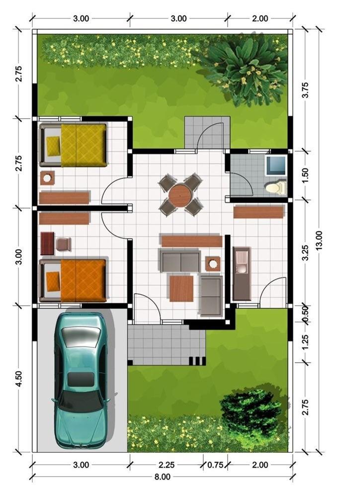 Denah Type 30 : denah, Denah, Rumah, Minimalis, Terbaik, (Tren, 2019), Rumah,, Desain