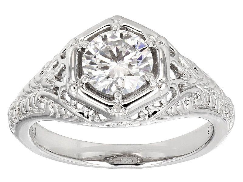 Moissanite Fire R 1 00ct Diamond Equivalent Weight Round Platineve Tm Ring Jewelry Diamond Rings