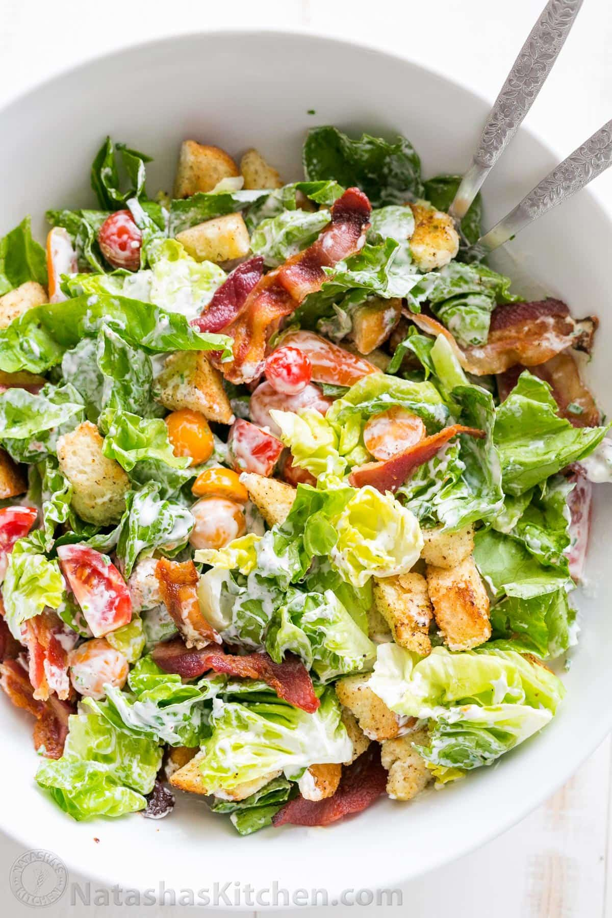 Crunchy Green Salad with Croutons Recipe pictures
