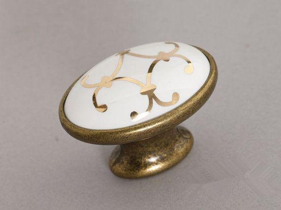 Ceramic Knobs Antique Brass Oval / Dresser Drawer