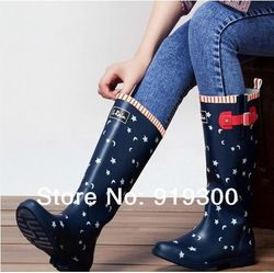 Online Shop 3 Models Women Fashion Waterproof Buckle Rainboots Navy Blue Colors British Styles Rubber Rain Boots Water Shoes Knee High #TS6|Aliexpress Mobile