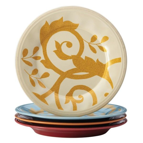 Rachael Ray Dinnerware Gold Scroll 4-piece Salad Plate Set - Overstock™ Shopping - Great Deals on Rachael Ray Plates