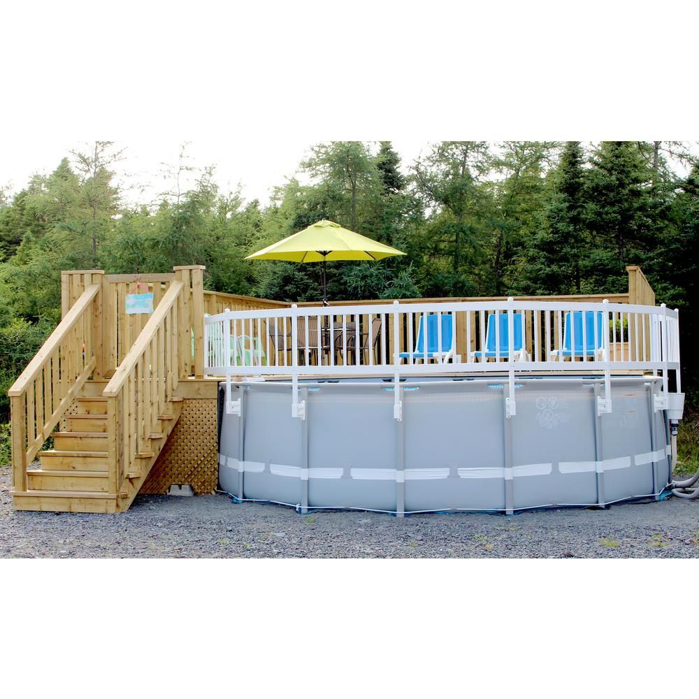 Vinyl Works Above Ground Pool Fence Kit 2 Sections In Taupe Ne1333