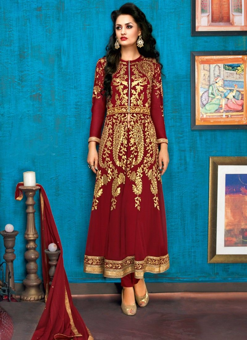 Zip Style Maroon Color Wedding And Party Wear Salwar Suit | SALWAR ...