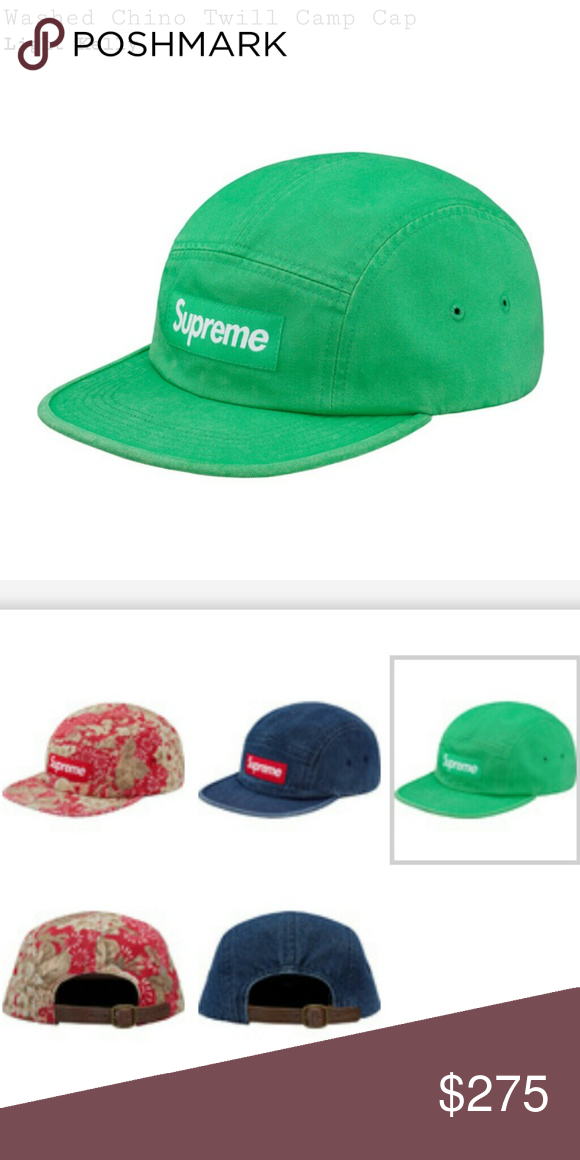 6bea7d2fc528 Washed Chino twill camp hat SUPREME SS/18 washed Chino twill camp hat. I  perfect condition. Snagged off the online store. Kelly Green color Supreme  ...