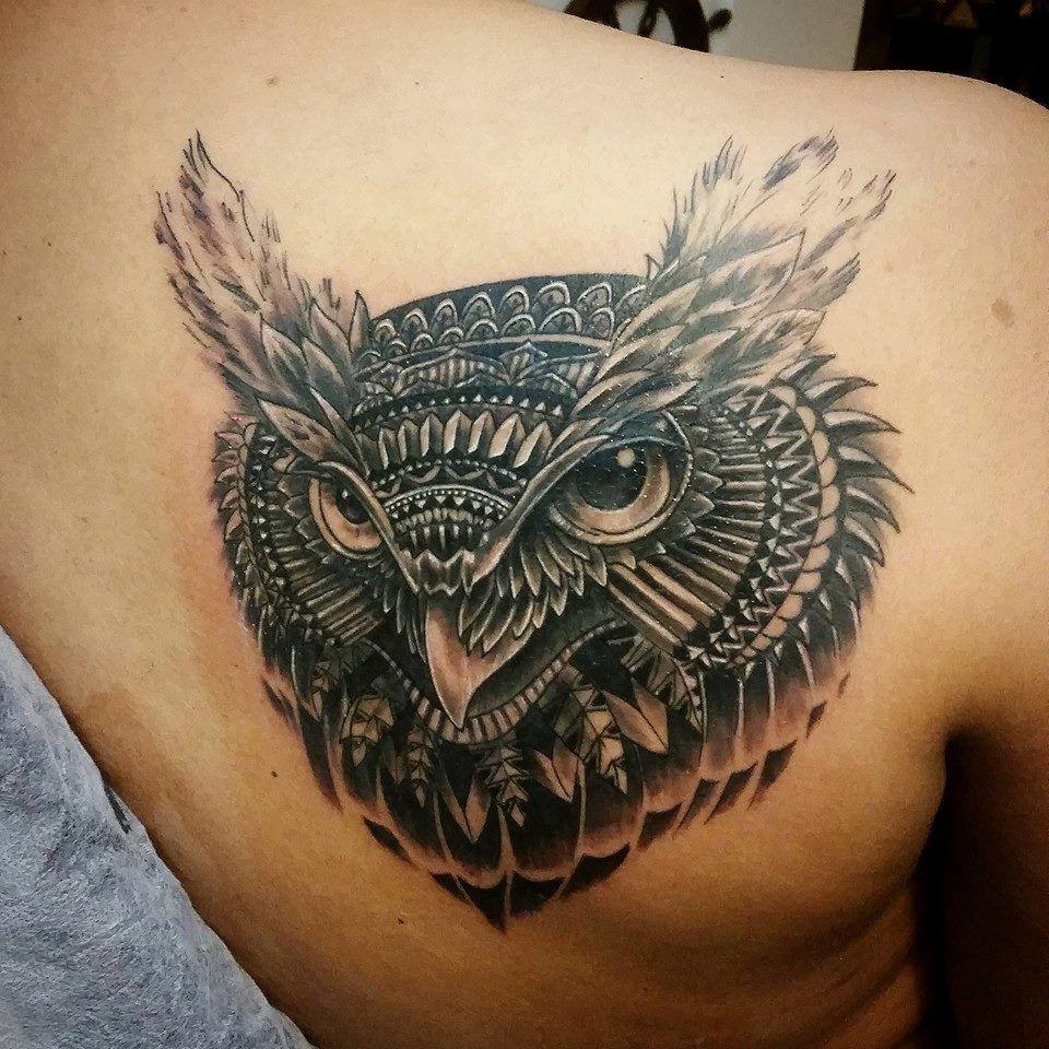 a49c8ab79 Owl Head Tattoo Grey ink owl head tattoo on right back shoulder by ...