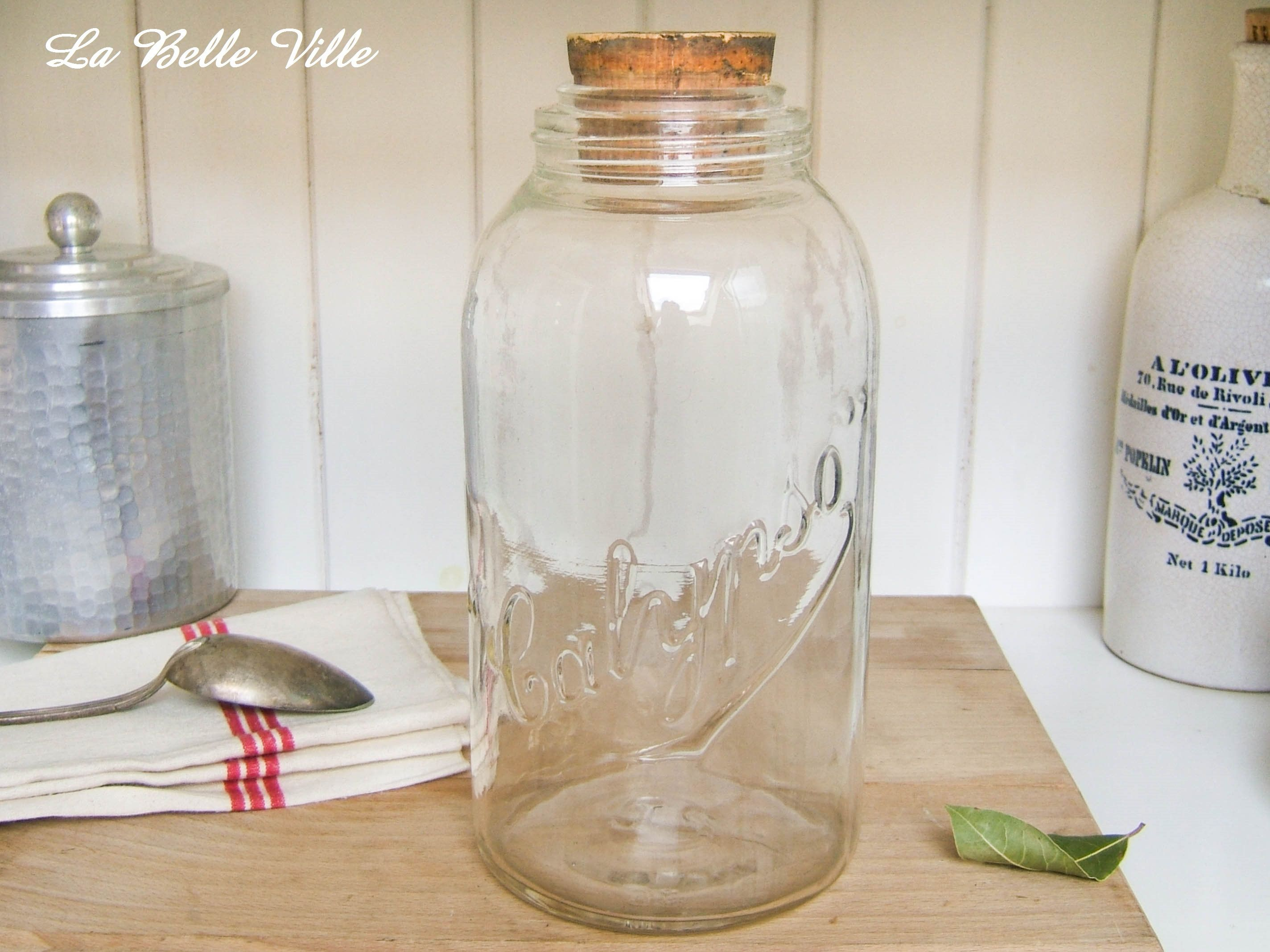 Vintage French Glass Jar Large Bottle For The Kitchen Storage Preserving Jar With Cork Calypso Clear Glass Jar Kitchen Decor