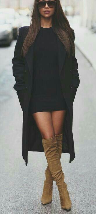 Winter fashion : knee high boots tan,  black knit dress with black coat