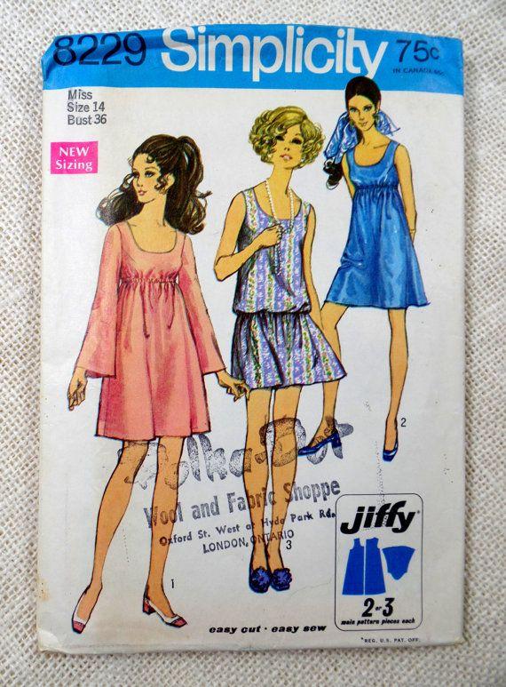 Vintage 1960s Dress Pattern Simplicity 8229 Angel Sleeve Scoop Neckline Drop Waist Mini Dre Simplicity Patterns Dresses Vintage Sewing Patterns Sewing Patterns