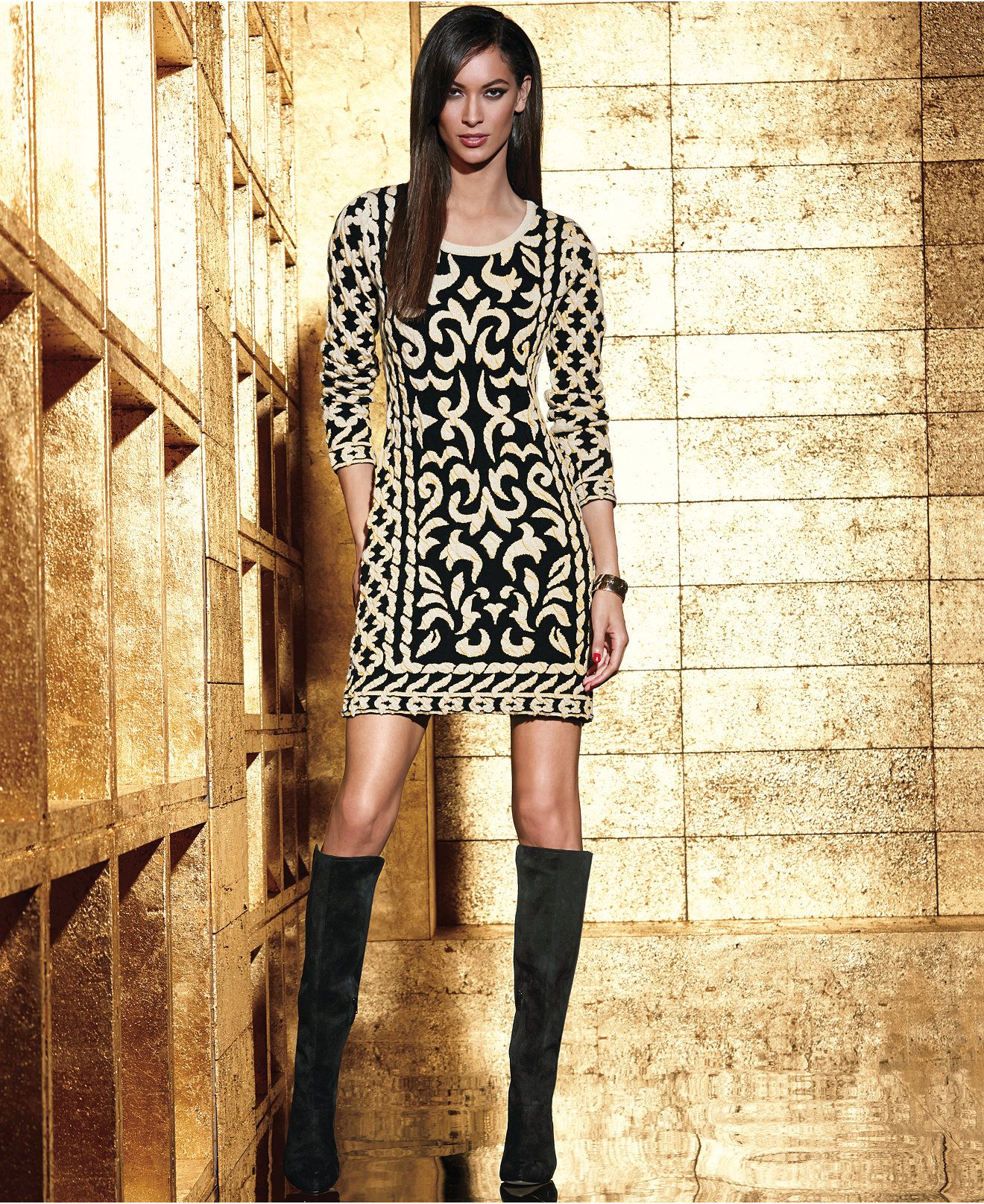 INC International Concepts Long-Sleeve Patterned Sweater Dress ...