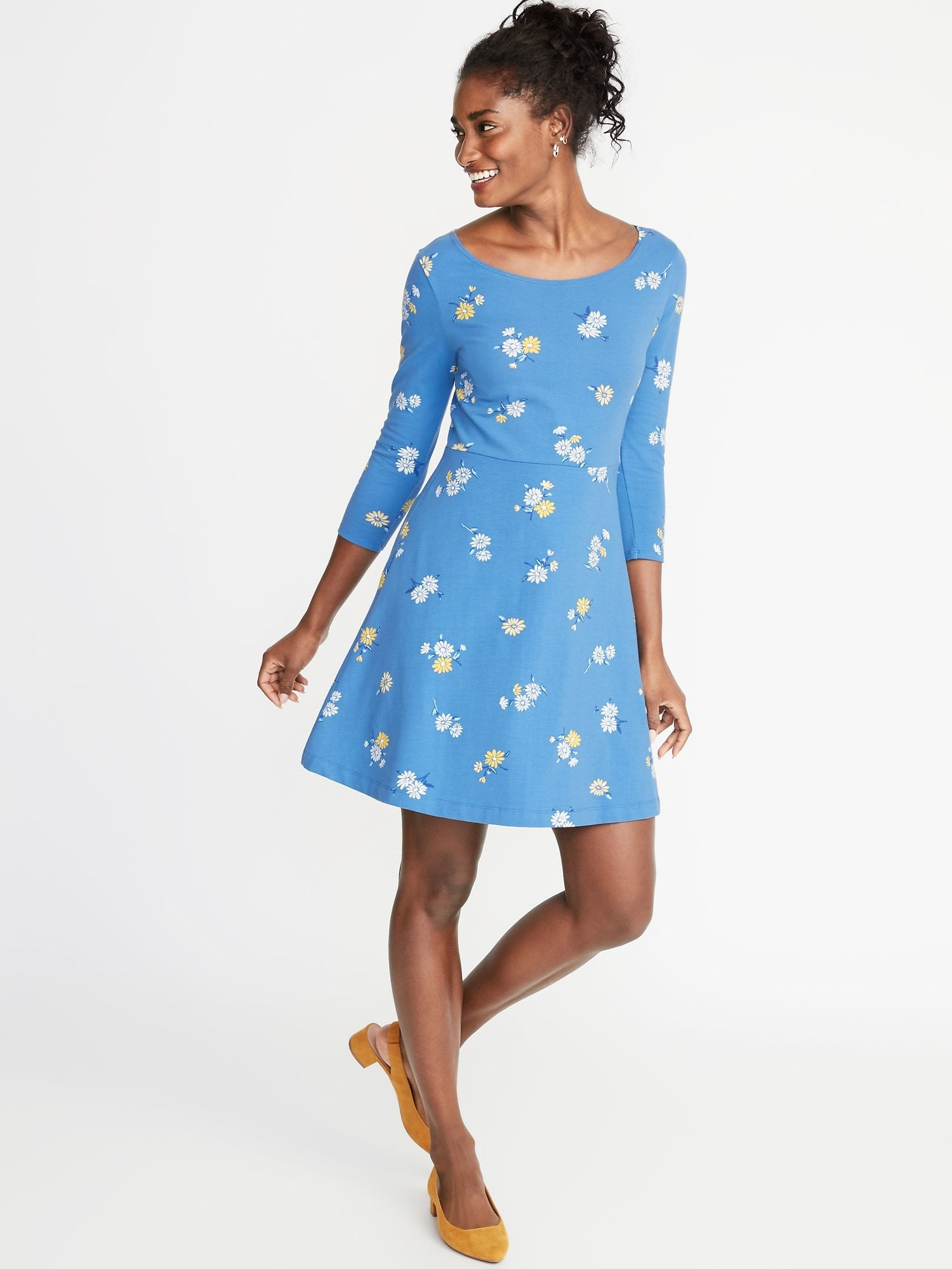 Fit & Flare 3/4-Sleeve Jersey Dress for Women   Old Navy ...