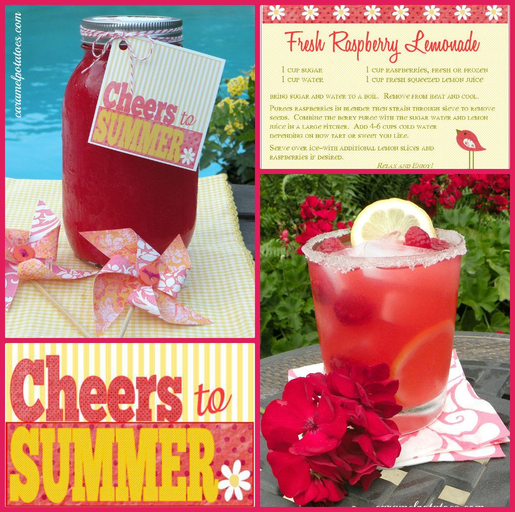 Cheers To Summer Printable And Recipe Card Raspberry Lemonade Recipe Recipe Cards Summer Printables