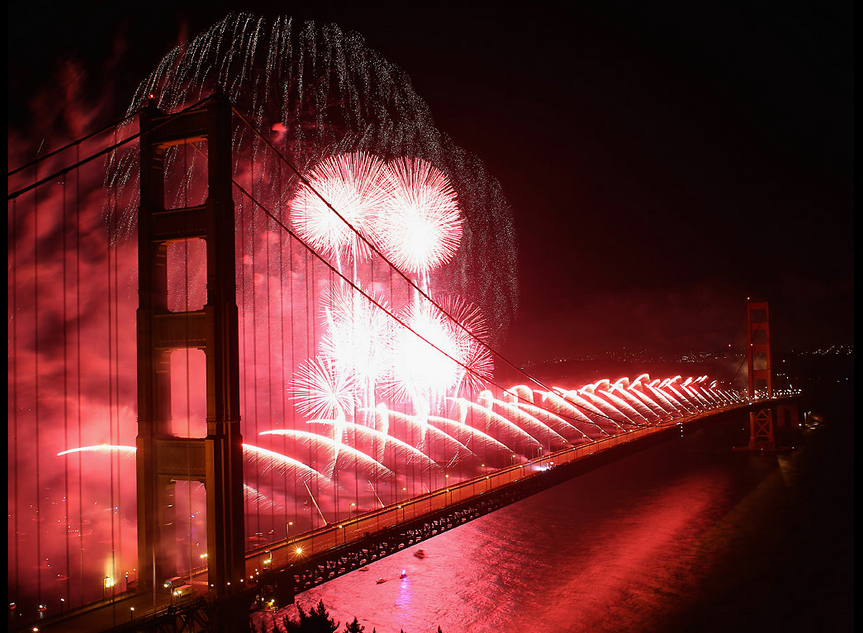 Fireworks Explode Over The Golden Gate Bridge Sunday Night During Its 75th Anniversary In San Francisco By Ezra S Golden Gate Golden Gate Bridge Great Shots