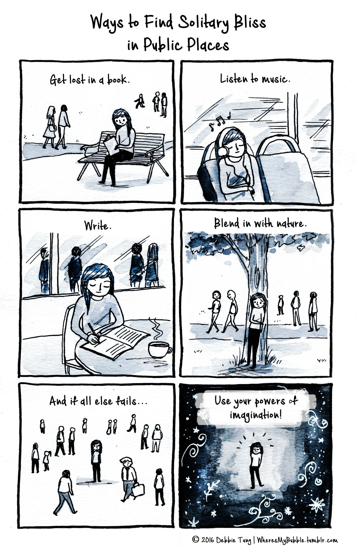 Some ways to find solitude in public places for introverts.