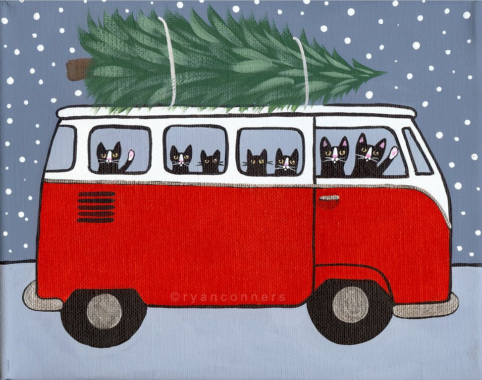 red vw bus christmas cats original folk art by kilkennycatart vw vans pinterest gato. Black Bedroom Furniture Sets. Home Design Ideas