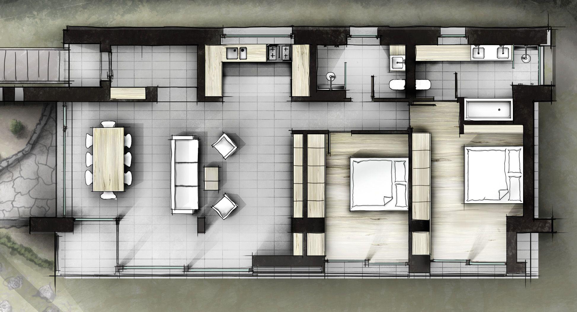 Innenarchitektur skizze grundriss  Entwurf_Wohnhaus2 | Innenarchitektur Zeichnungen Skizzen No-Render ...