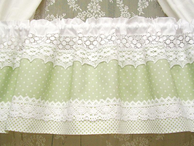 Vintage Landhausgardine Grun Dots Shabby Chic 284 Von Bluebasar Via Dawanda Com Shabby Chic Vorhange Schabby Schick Bunte Vorhange