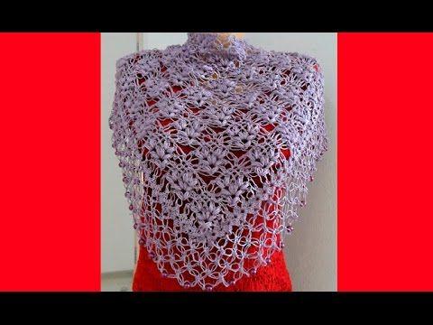 сиреневая шаль пышные столбики и петли соломона Crochet Schal