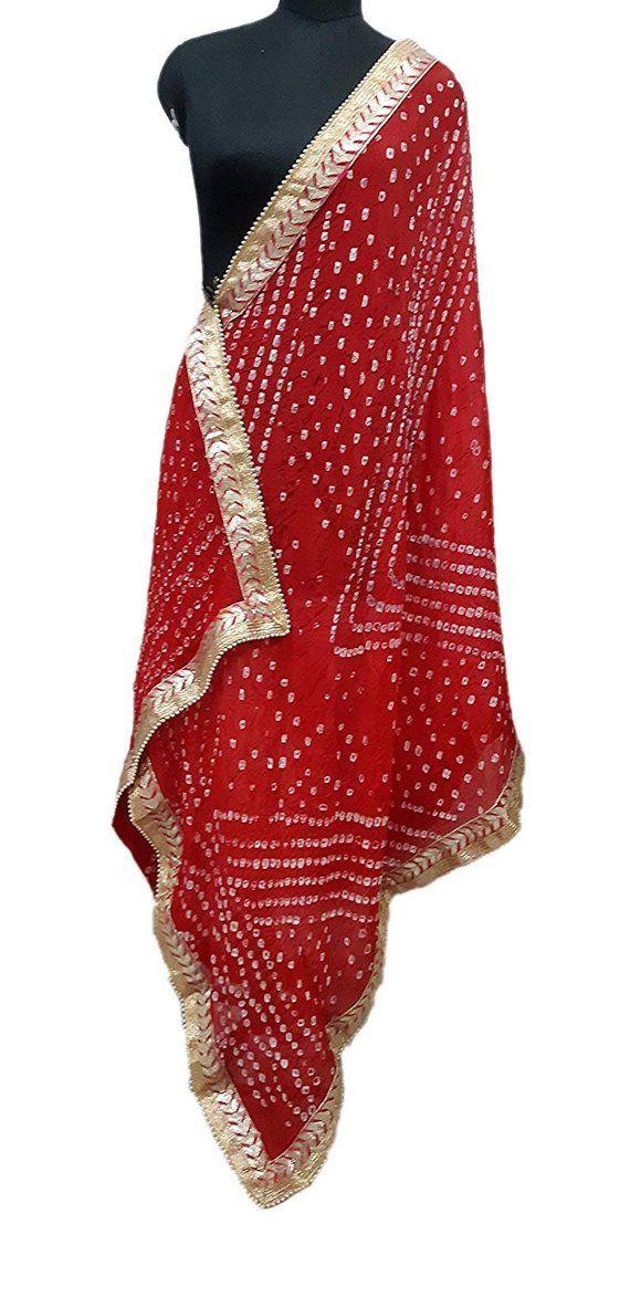 3e2673b2ab Scarves\Dupatta Jaipuri Rajasthani Art Silk Bandhej (Bandhani) Dupatta With  Gota Patti Border & Moti Mal Red Color Large.
