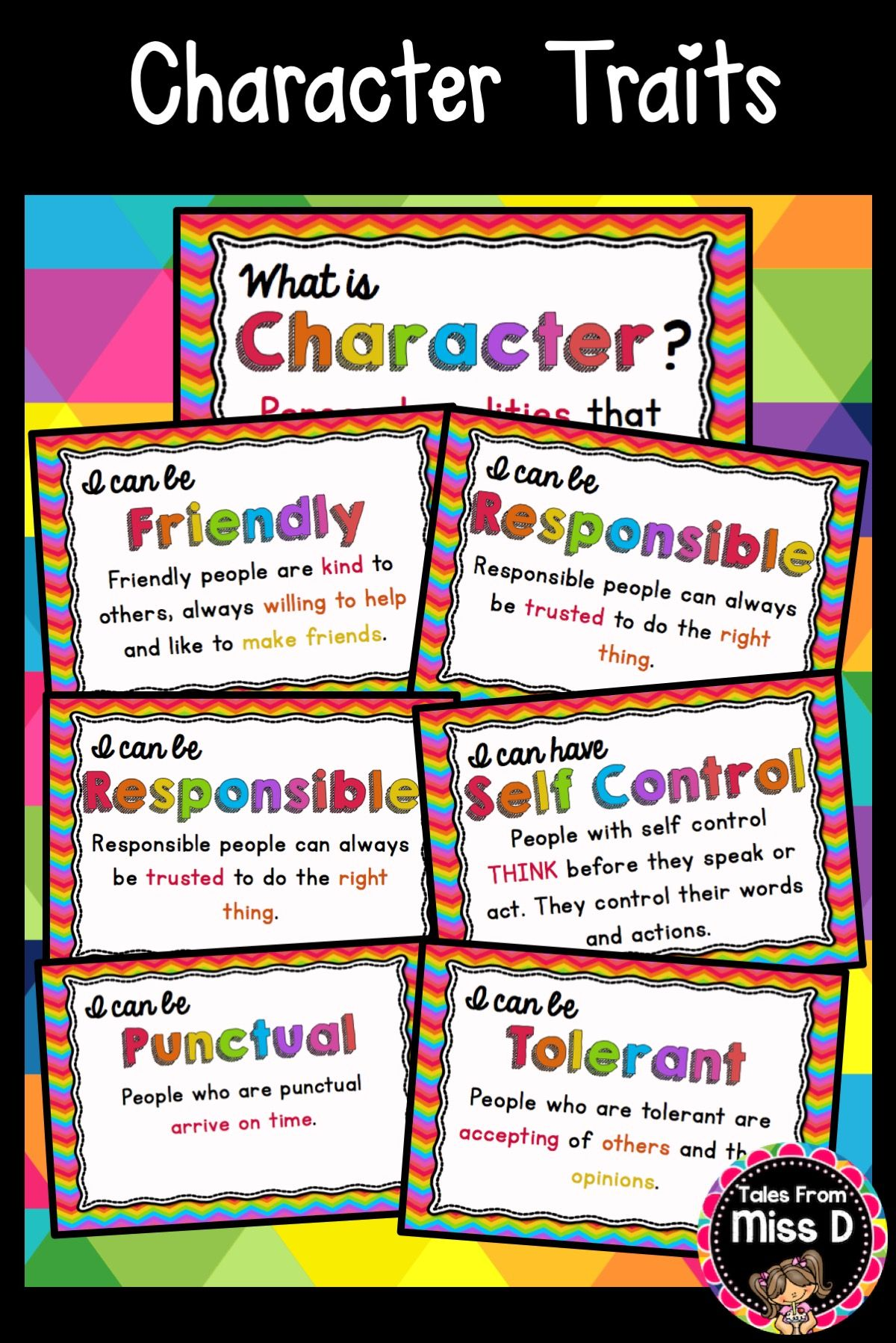 Character traits posters teaching social skills character trait character traits posters 21 posters including friendly tolerant punctual responsible self fandeluxe