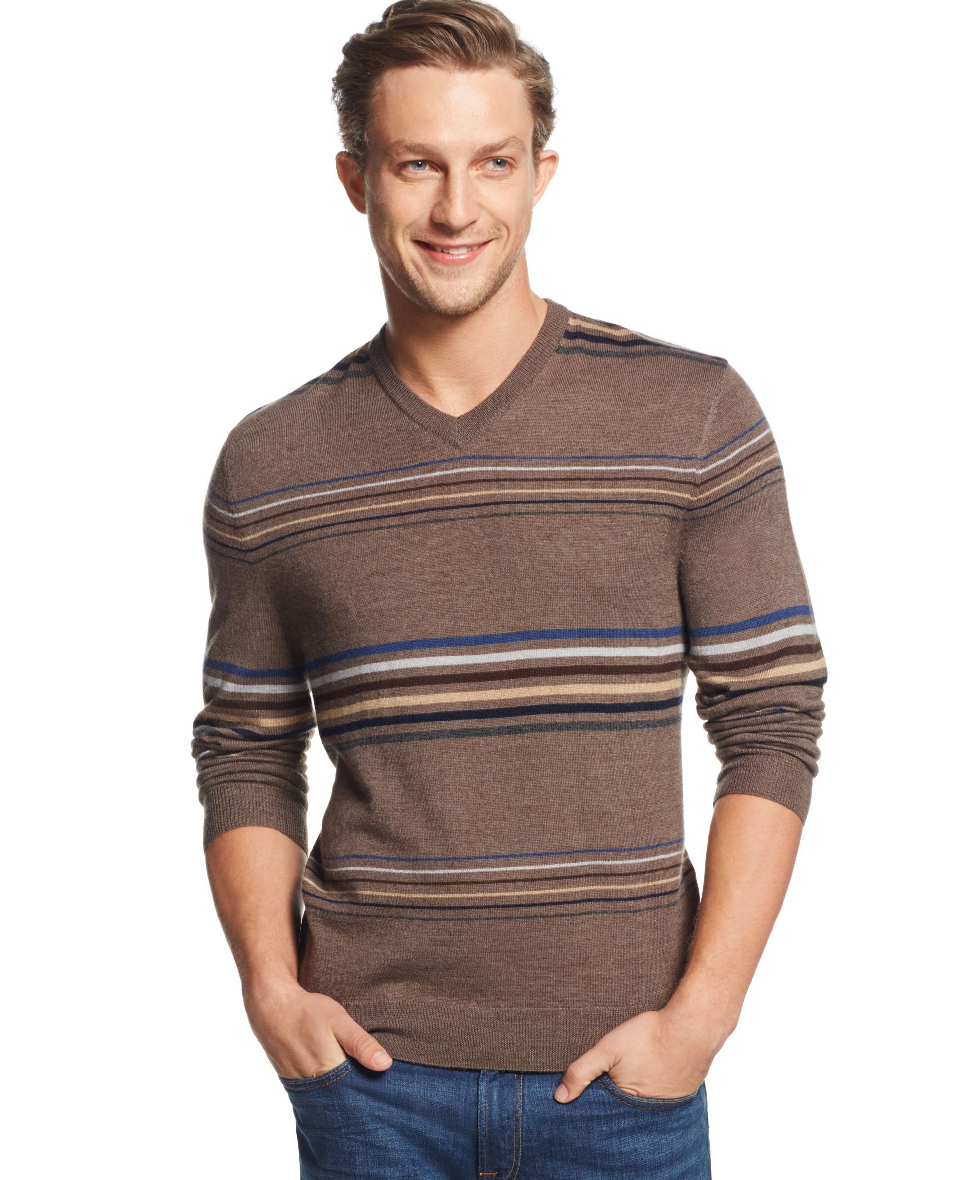Club Room Birdseye Striped V-Neck Sweater, Only at Macy's