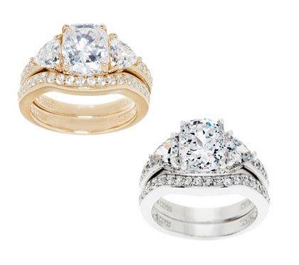 Diamonique 295 cttw 100Facet 2pc Bridal Ring Set QVCcom