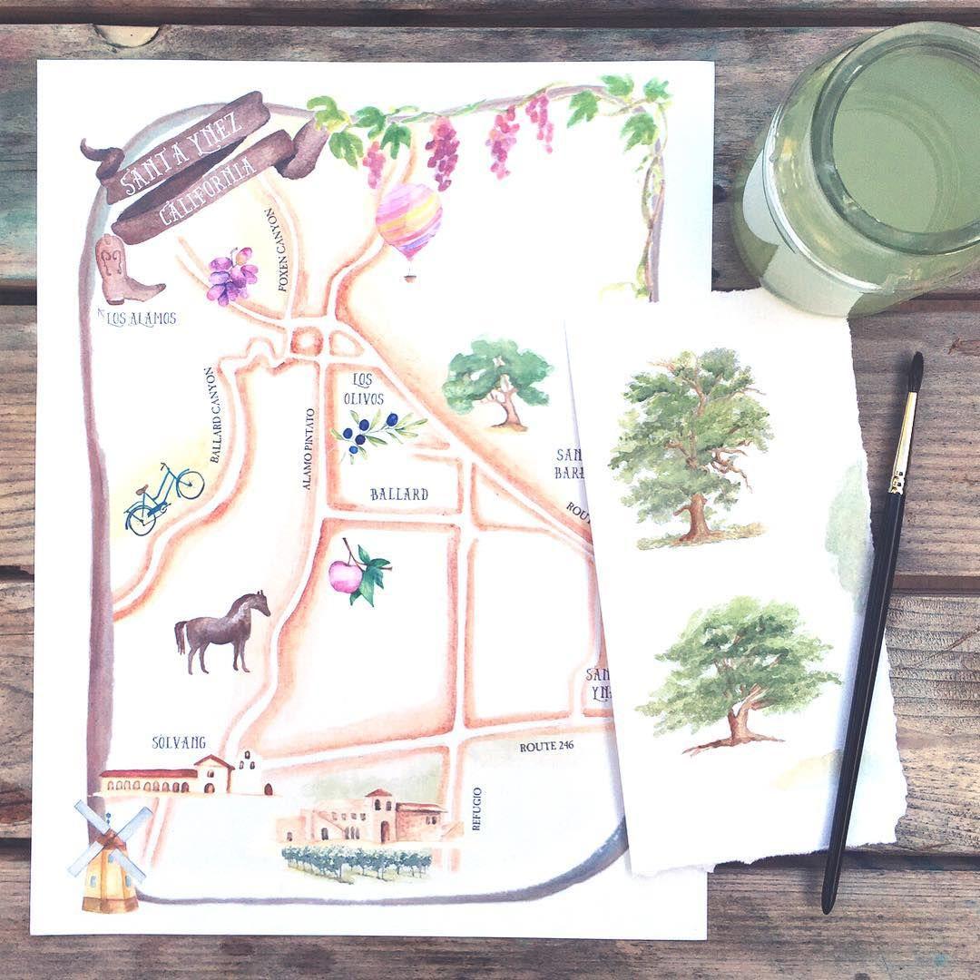 Custom Santa Ynez Valley Watercolor Wedding Map honeypapercom