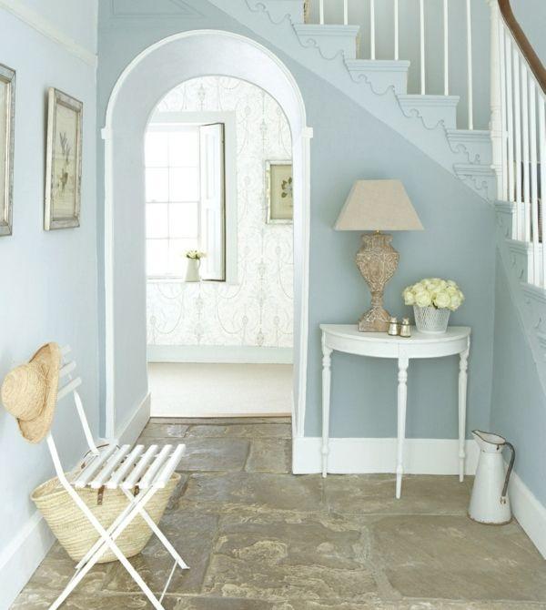 steinboden hausflur blaue wandfarbe - Hellblaue Kche Welche Wandfarbe