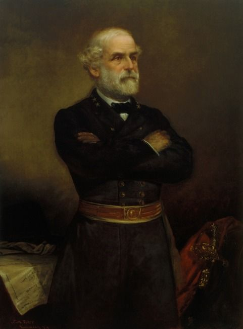 Framed Civil War Painting on canvas Portrait of General Robert E Lee 1865