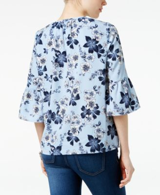 Charter Club Floral-Print Ruffle-Sleeve Top, Only at Macy's - Blue XXL