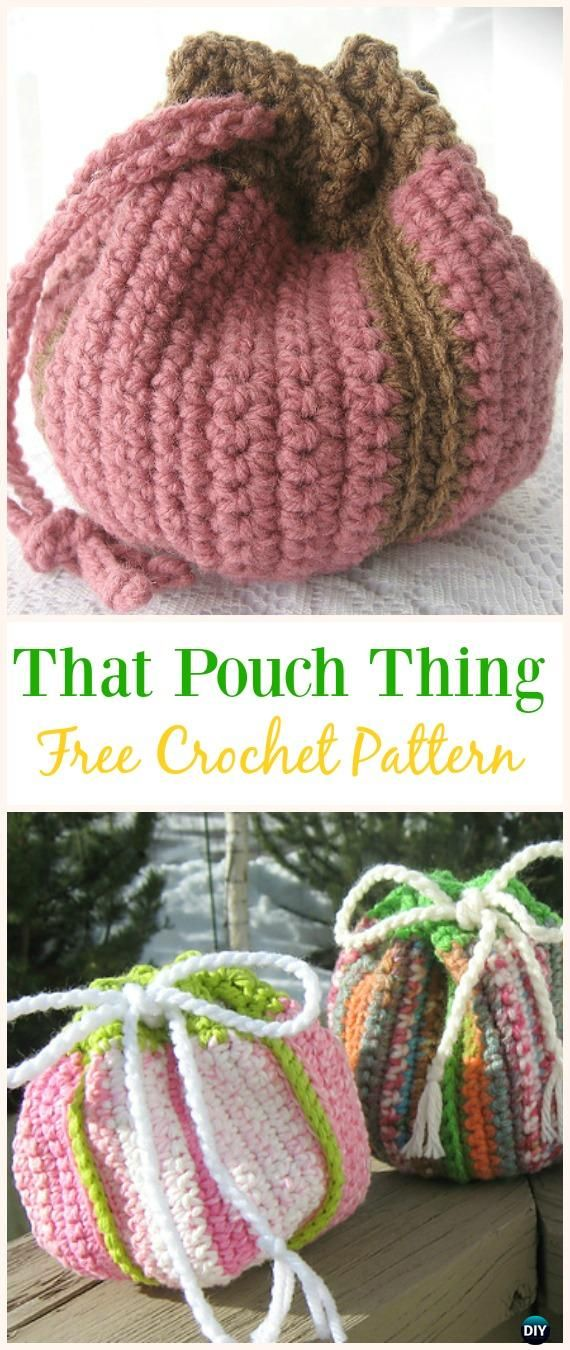 That Pouch Thing Free Crochet Pattern Crochet Drawstring Bags