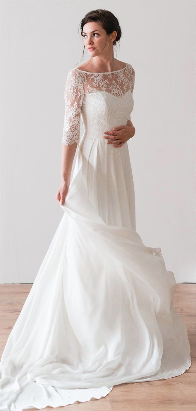 A Flowing Silk Satin Chiffon Dress With French Lace Bodice Worn The Matching