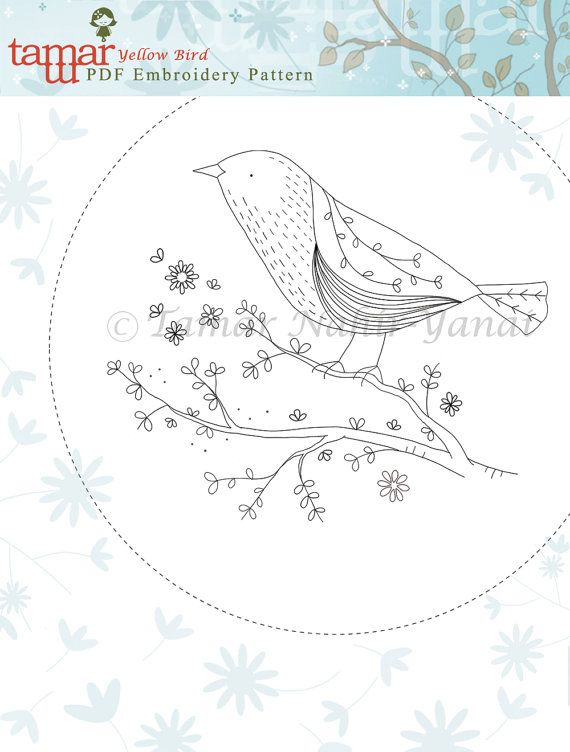 Embroidery Pattern Pdf Modern Hand Embroidery Pattern Yellow Bird