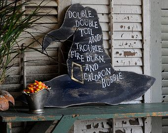 Witch Hat Halloween Party Macbeth Witch Decor Double, Double, Toil And  Trouble; Fire Burn, And Caldron Bubble