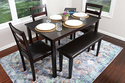 4 Person 5 Piece Kitchen Dining Table Set 1 Table 3 Leather Chairs 1 Bench Espresso Br Kitchen Table Settings Espresso Dining Tables Kitchen Dining Sets