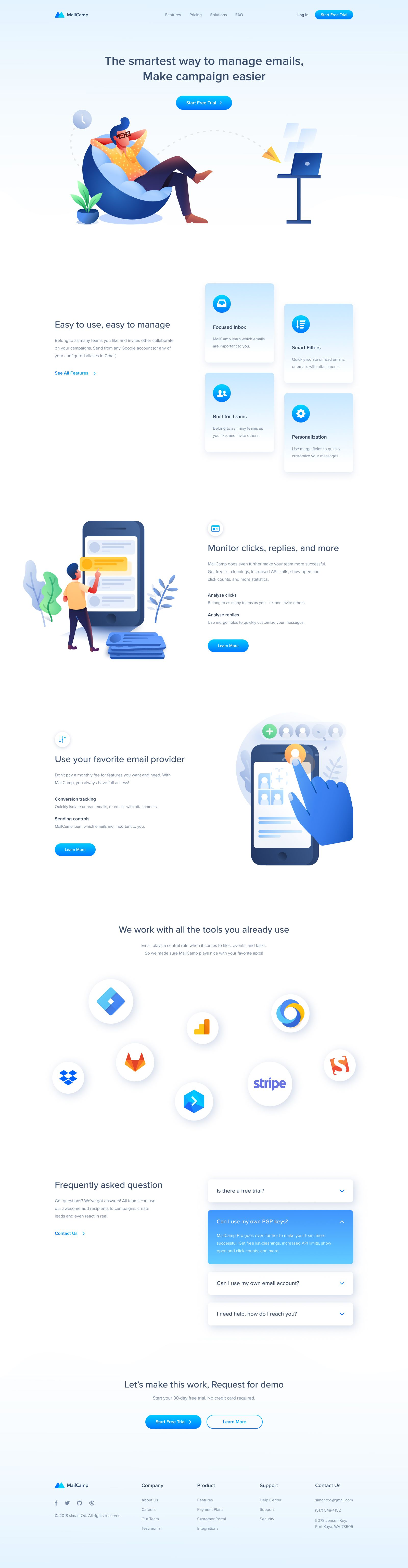 Mailcamp Email Marketing Landing Page In 2020 Landing Page Web Design Page Design