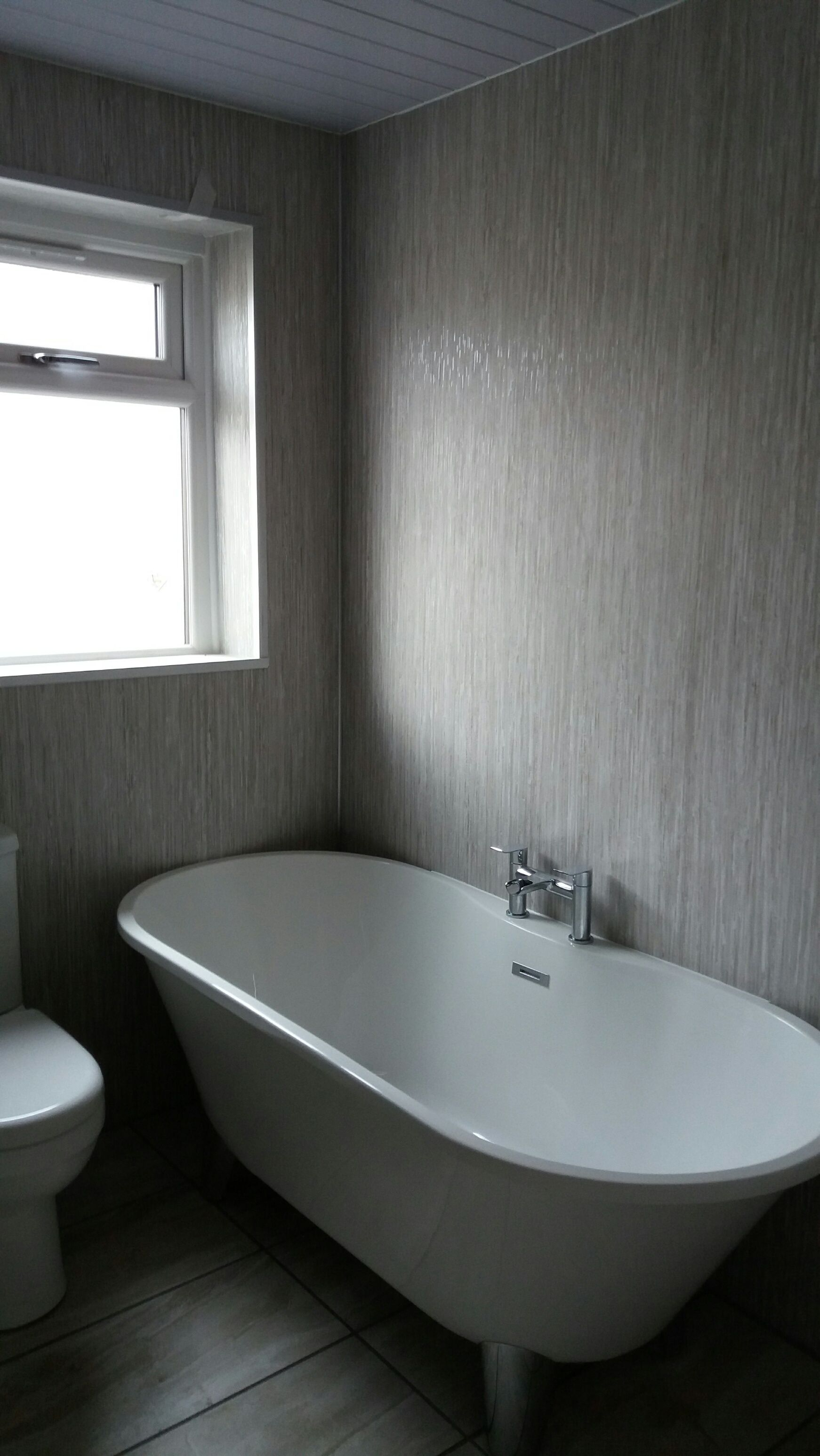 Bathroom Installation Featuring Selkie In Silver Rain And Our Ancona Double Chrome Ceiling Pa Bathroom Installation Laminate Kitchen Worktops Shower Panels