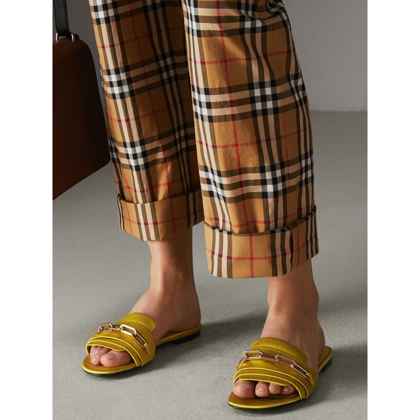 8b57c853a38a Link Detail Satin and Leather Slides in Antique Yellow - Women