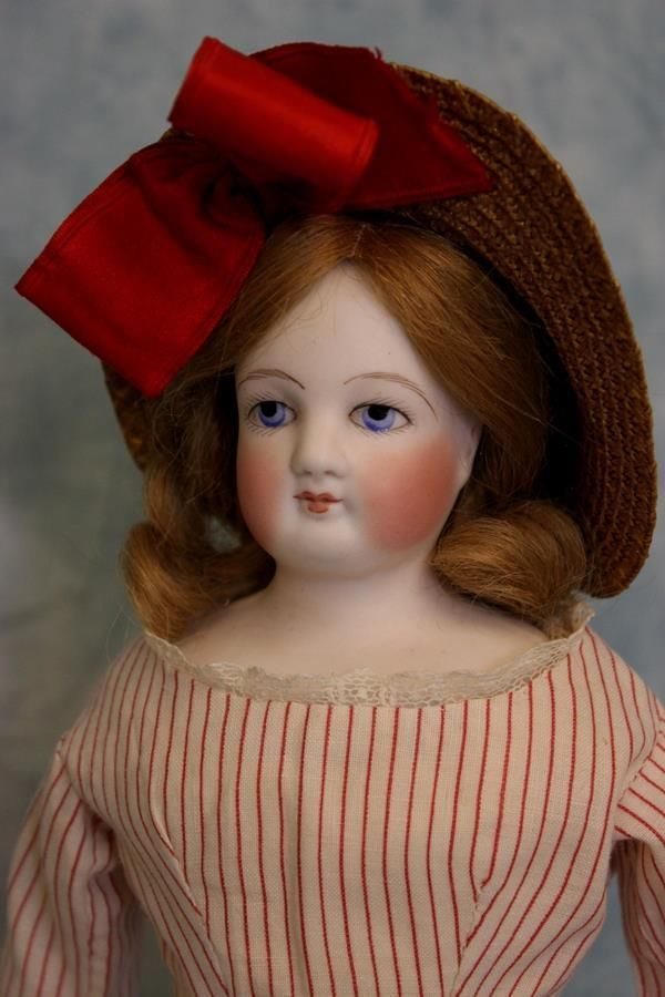 "Antique 14"" Blue Eyed French Bisque Fashion Doll Antique Clothes,bonnet & Wig!!"