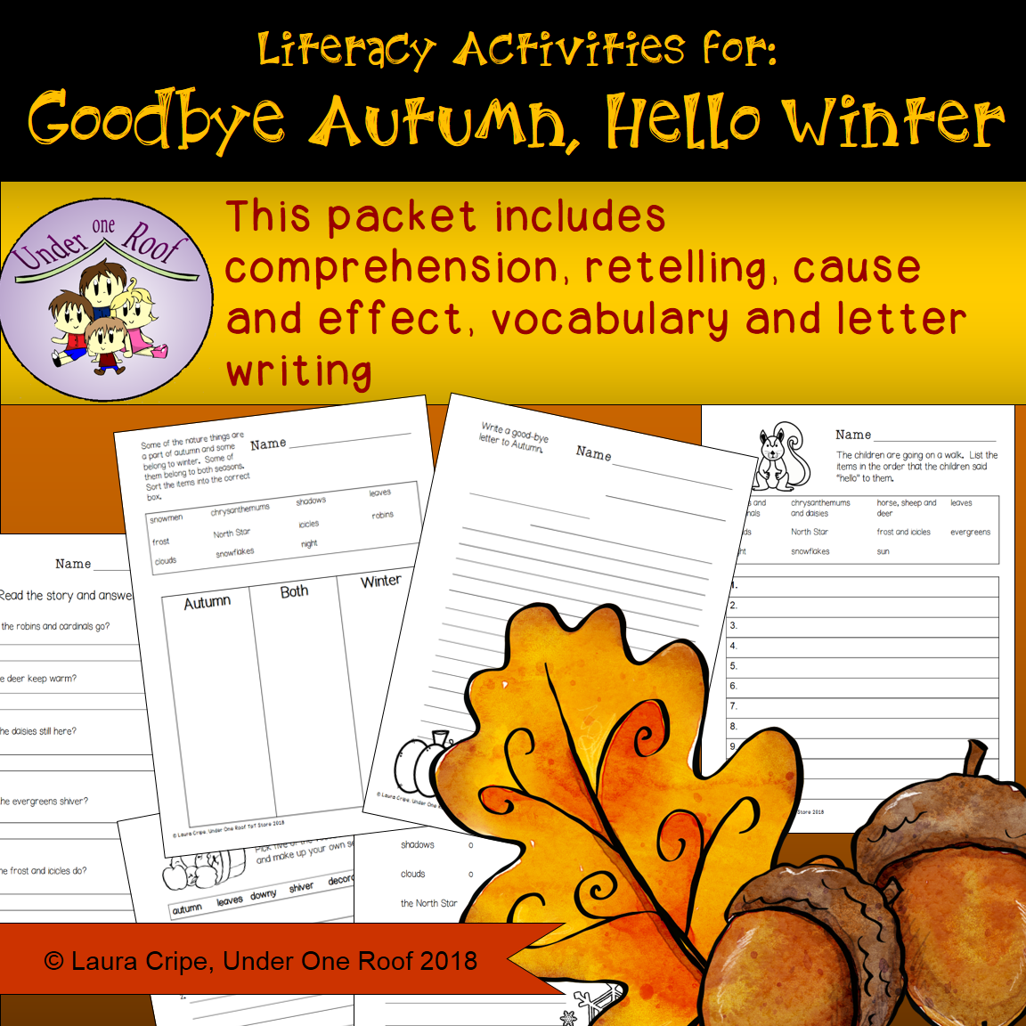 Goodbye Autumn Hello Winter Literacy Activities
