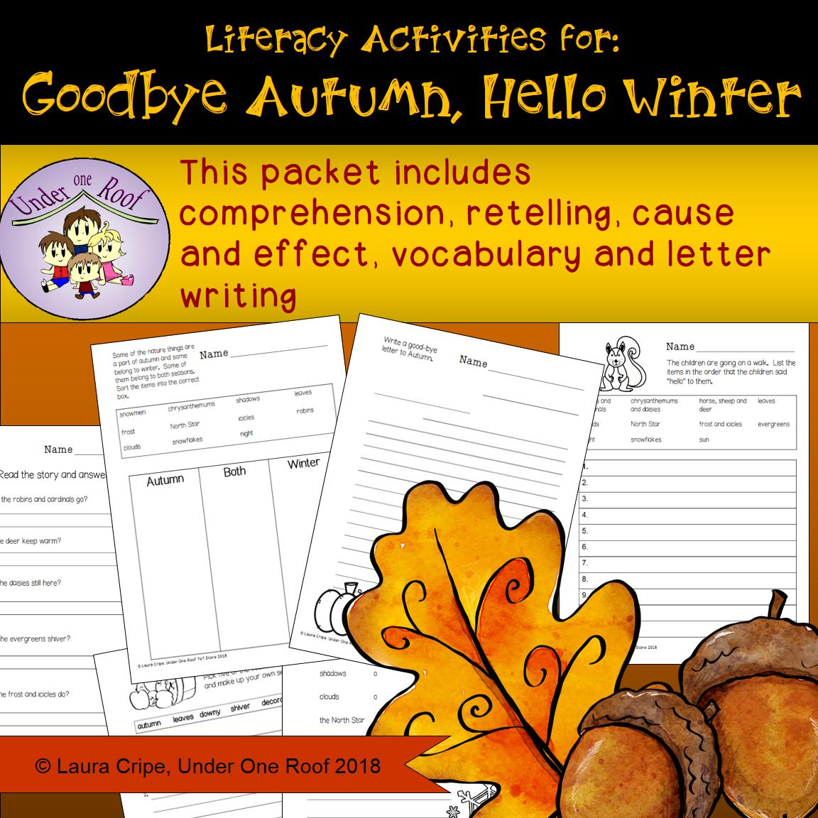 Goodbye Autumn Hello Winter Literacy Activities