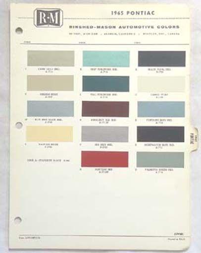 1965 Pontiac R M Color Paint Chip Chart All Models Original Ebay