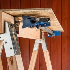 Make a quick on-site  Make a quick on-site vise with these brackets and the 2x4 crossbeam of your sawhorse.